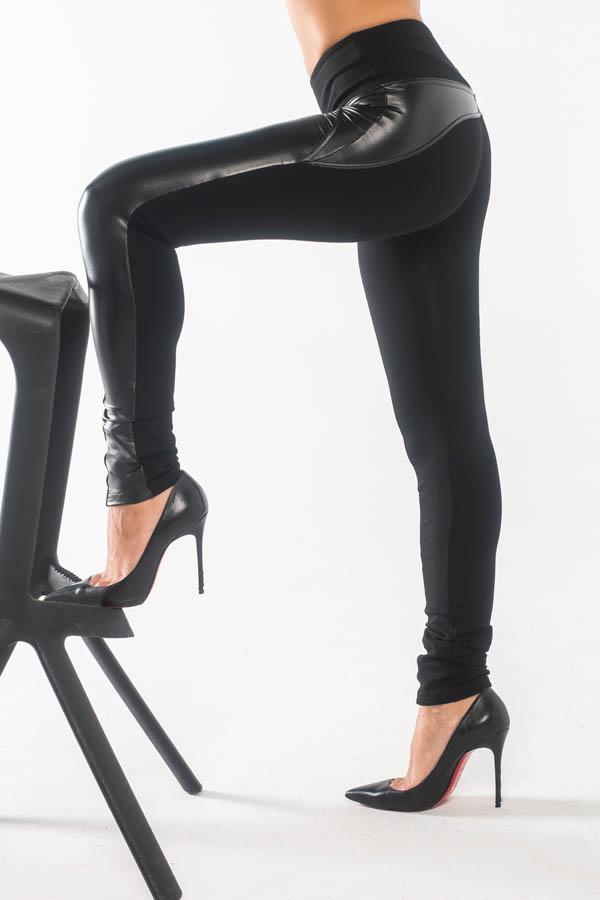 22930 Παντελόνι Κολάν BodyMove Leather Style - Μαύρο