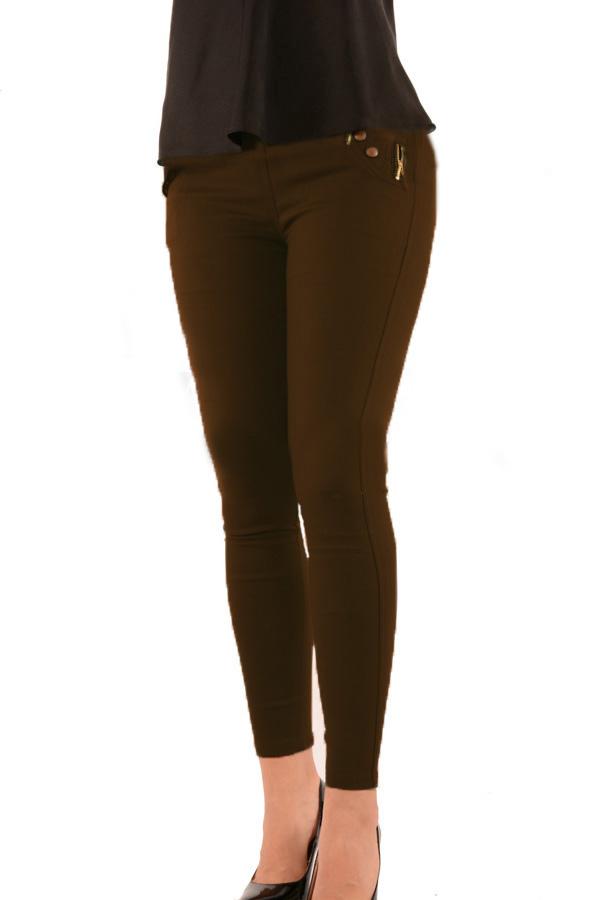 22859 Παντελόνι ψηλόμεσο με φερμουάρ - Brown